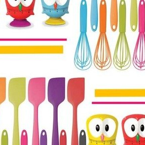 kitchen timers, whisks, and spatula
