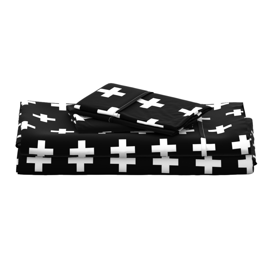 Langshan Full Bed Set featuring White Crosses on Black - Black Plus Signs by modfox