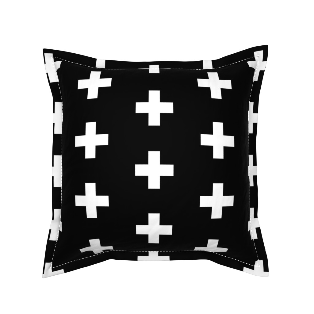 Serama Throw Pillow featuring White Crosses on Black - Black Plus Signs by modfox