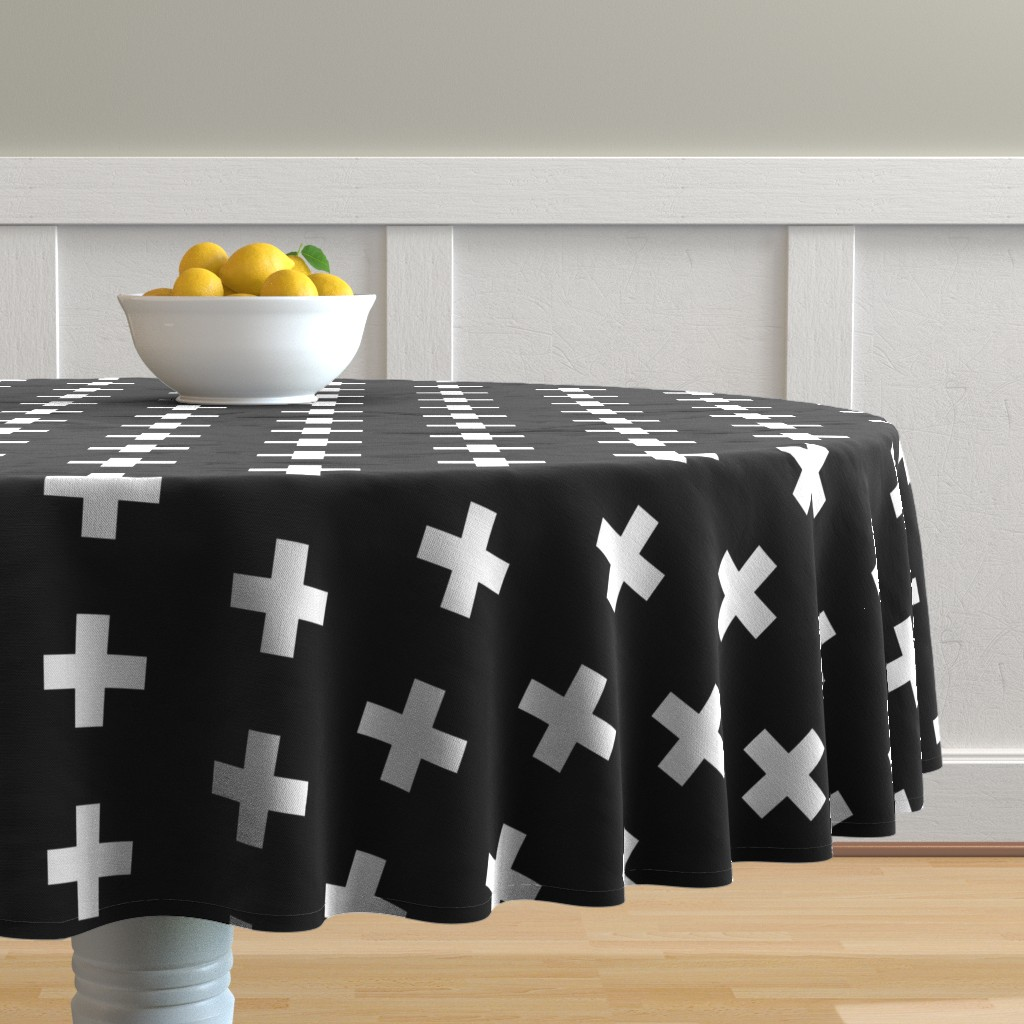 Malay Round Tablecloth featuring White Crosses on Black - Black Plus Signs by modfox