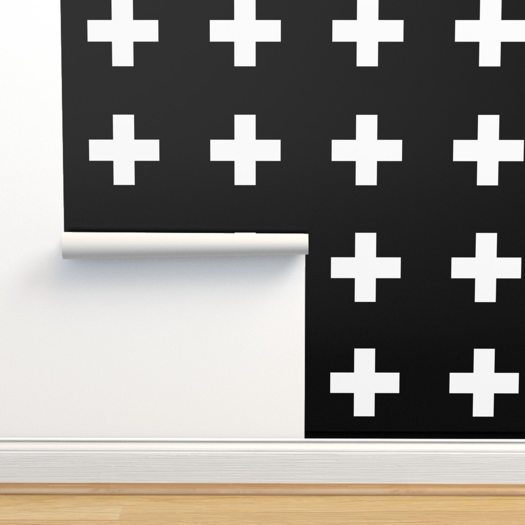 Isobar Durable Wallpaper featuring White Crosses on Black - Black Plus Signs by modfox
