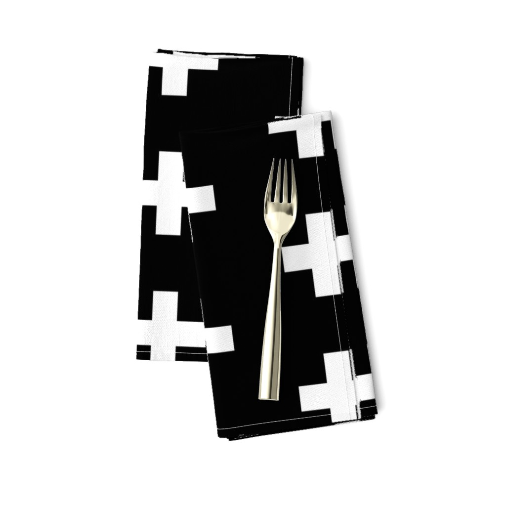 Amarela Dinner Napkins featuring White Crosses on Black - Black Plus Signs by modfox