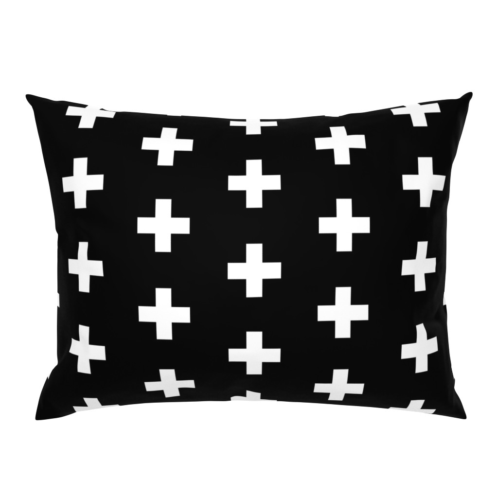 Campine Pillow Sham featuring White Crosses on Black - Black Plus Signs by modfox