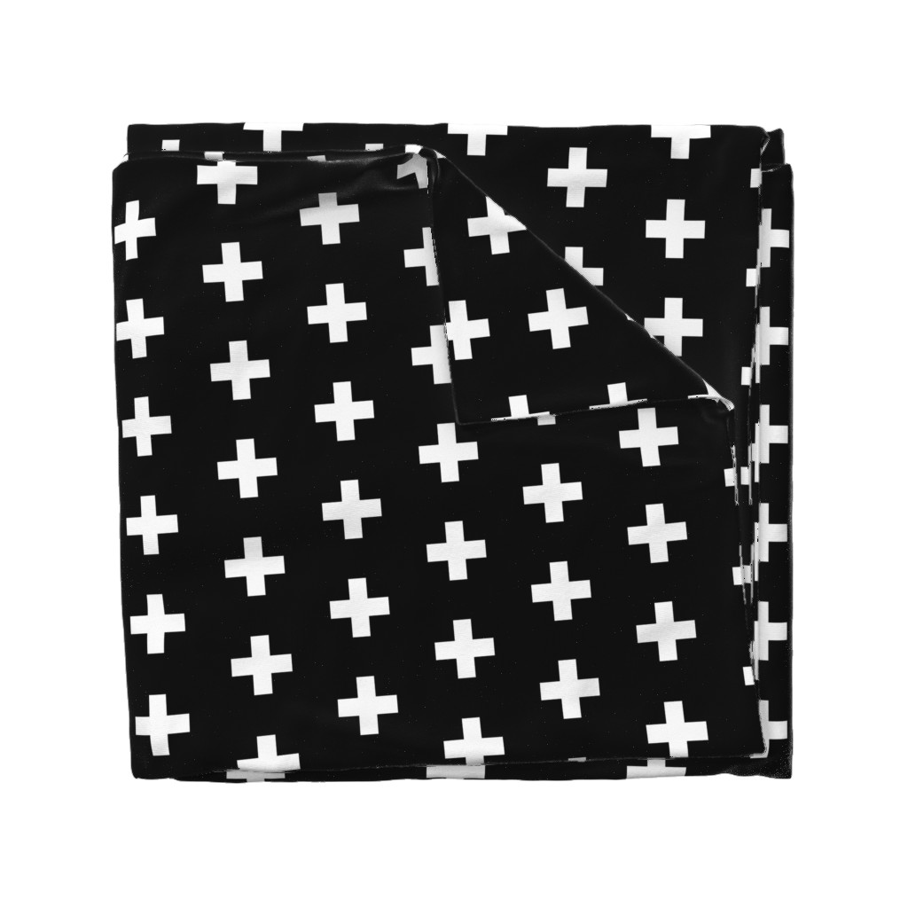 Wyandotte Duvet Cover featuring White Crosses on Black - Black Plus Signs by modfox