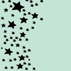 Paper Moon Collection - Black Mint Green Star Border