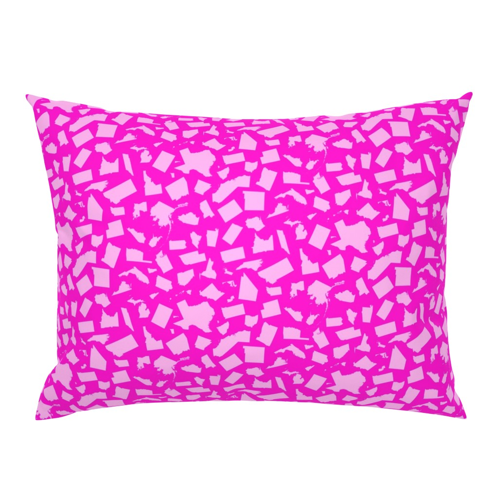 Campine Pillow Sham featuring United States Scatter (Pink) by robyriker