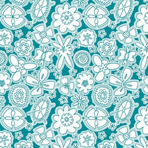 Flower Jamboree SMALL (Aqua and White)