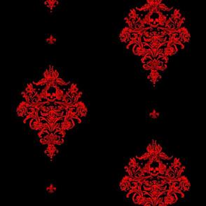 Gothic's Skull Damask avec fleur - red and black