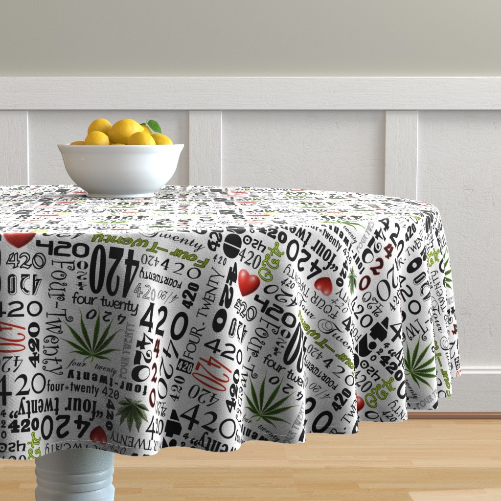 Malay Round Tablecloth featuring 420 by camomoto