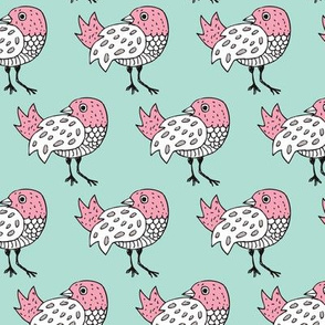 Quirky doodle birds illustration in blue and coral