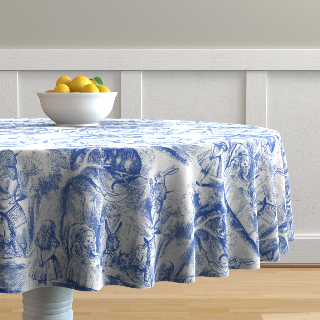 Malay Round Tablecloth featuring Alice In Wonderland ~ Late For Tea! ~ Nelson ~ Blue and White by peacoquettedesigns