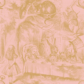 Alice In Wonderland ~ Late For Tea! ~ Gilt on Dauphine ~ Linen Luxe