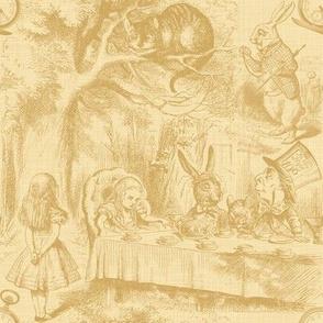 Alice In Wonderland ~ Late For Tea! ~ Gilt on Rococo Cream ~ Linen Luxe