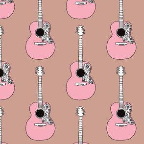 Pink acoustic guitar music design for girls