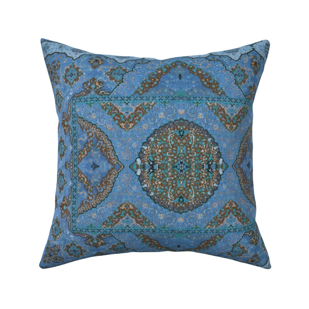 Catalan Throw Pillow featuring Persian Dream ~ Peacock  by peacoquettedesigns