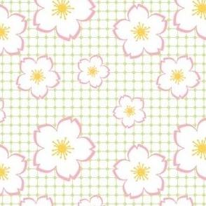 Sakura - white on green checker