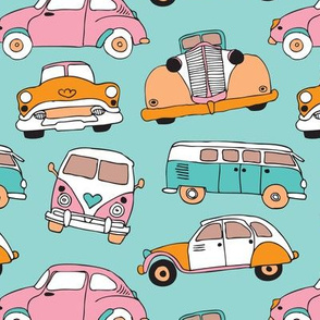 Vintage cars for girls illustration pattern
