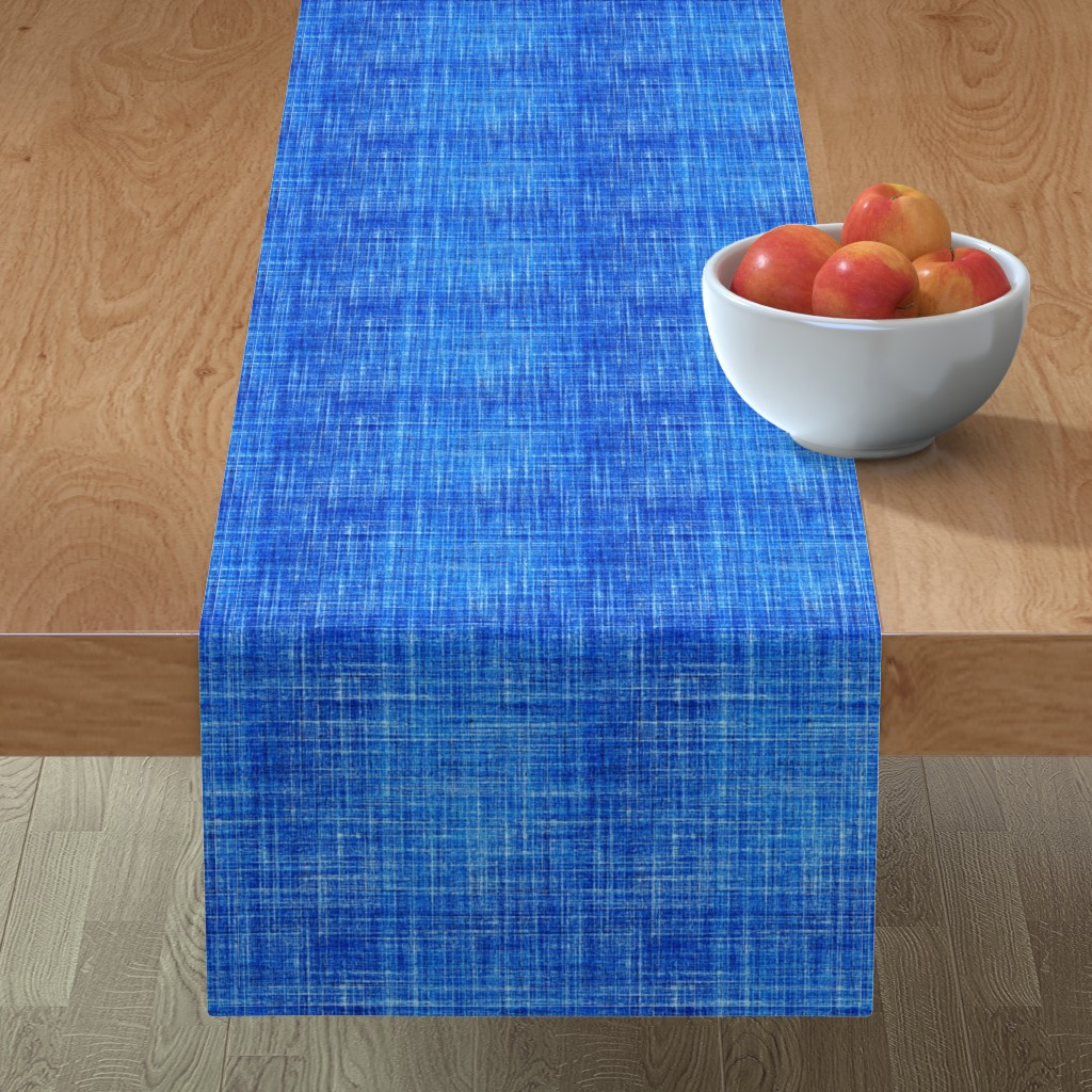 Minorca Table Runner featuring Linen in Cobalt blue by joanmclemore
