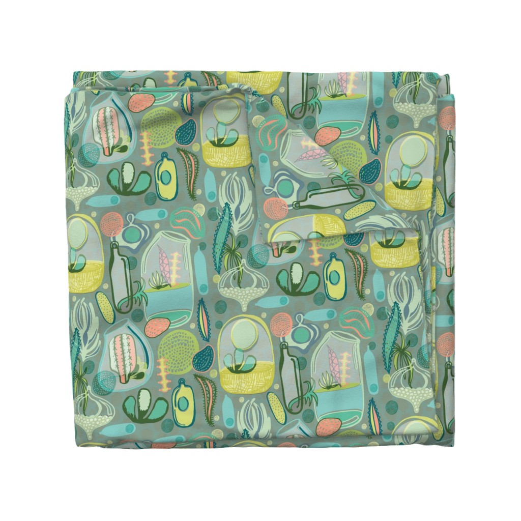 Wyandotte Duvet Cover featuring Contained Cacti by slumbermonkey