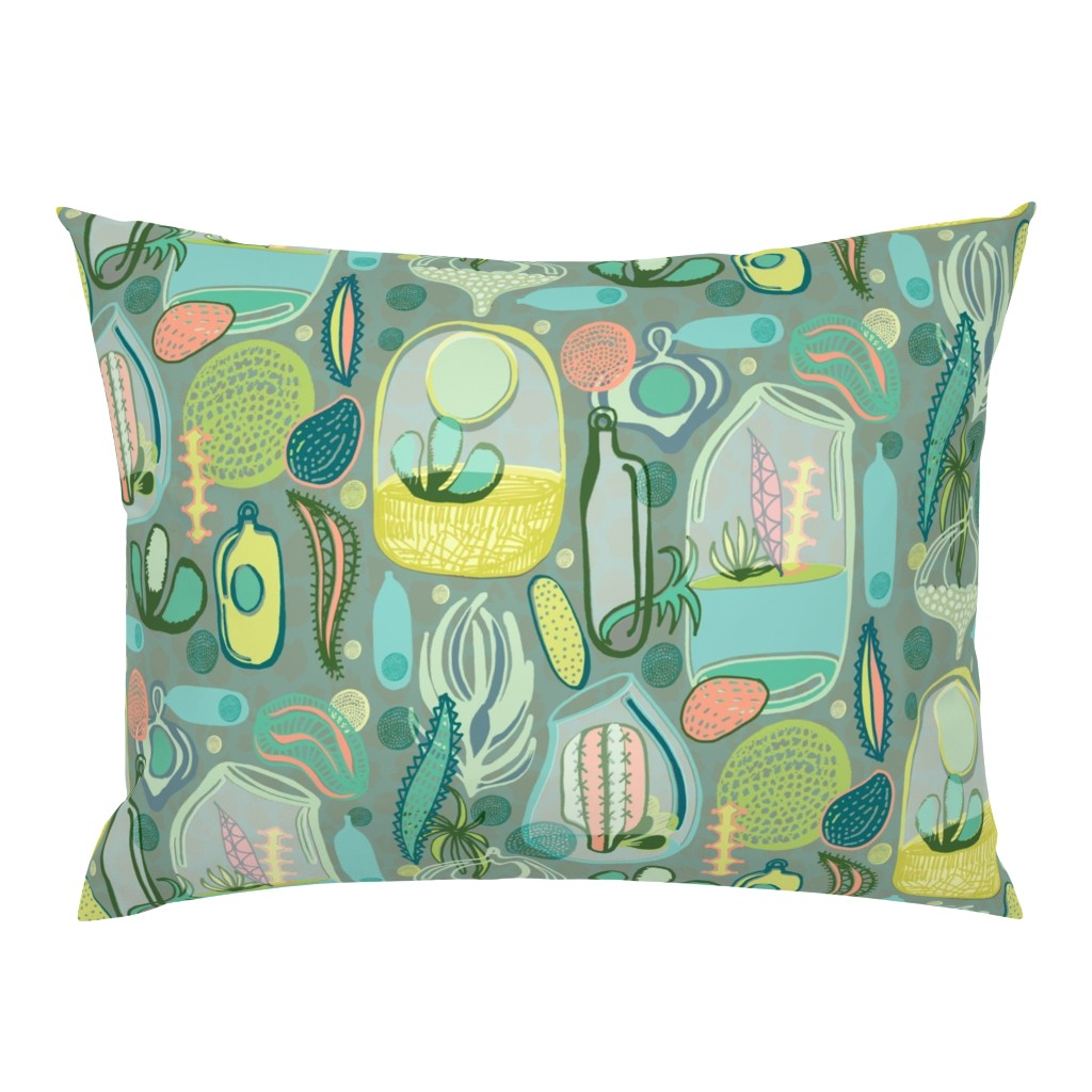 Campine Pillow Sham featuring Contained Cacti by slumbermonkey