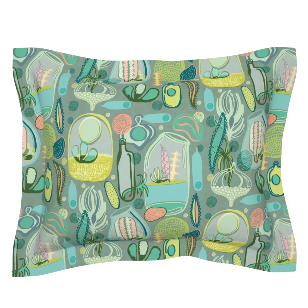 Sebright Pillow Sham featuring Contained Cacti by slumbermonkey
