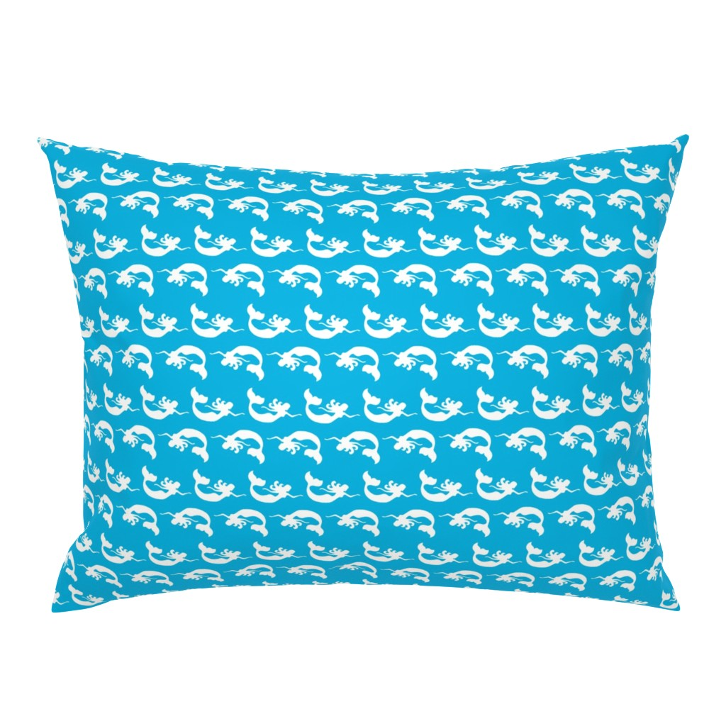 Campine Pillow Sham featuring Mermaid Swimming Aqua by vintagegreenlimited