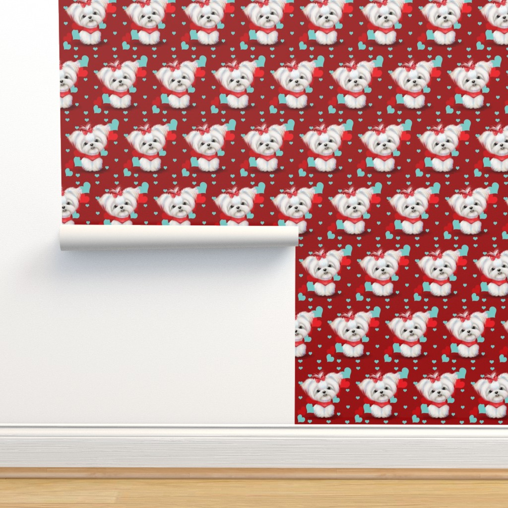 Isobar Durable Wallpaper featuring Maltese Red and  Hearts by catialee