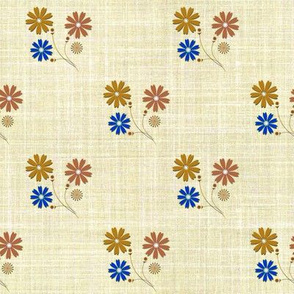 Faux Linen Sprigged Muslin Floral