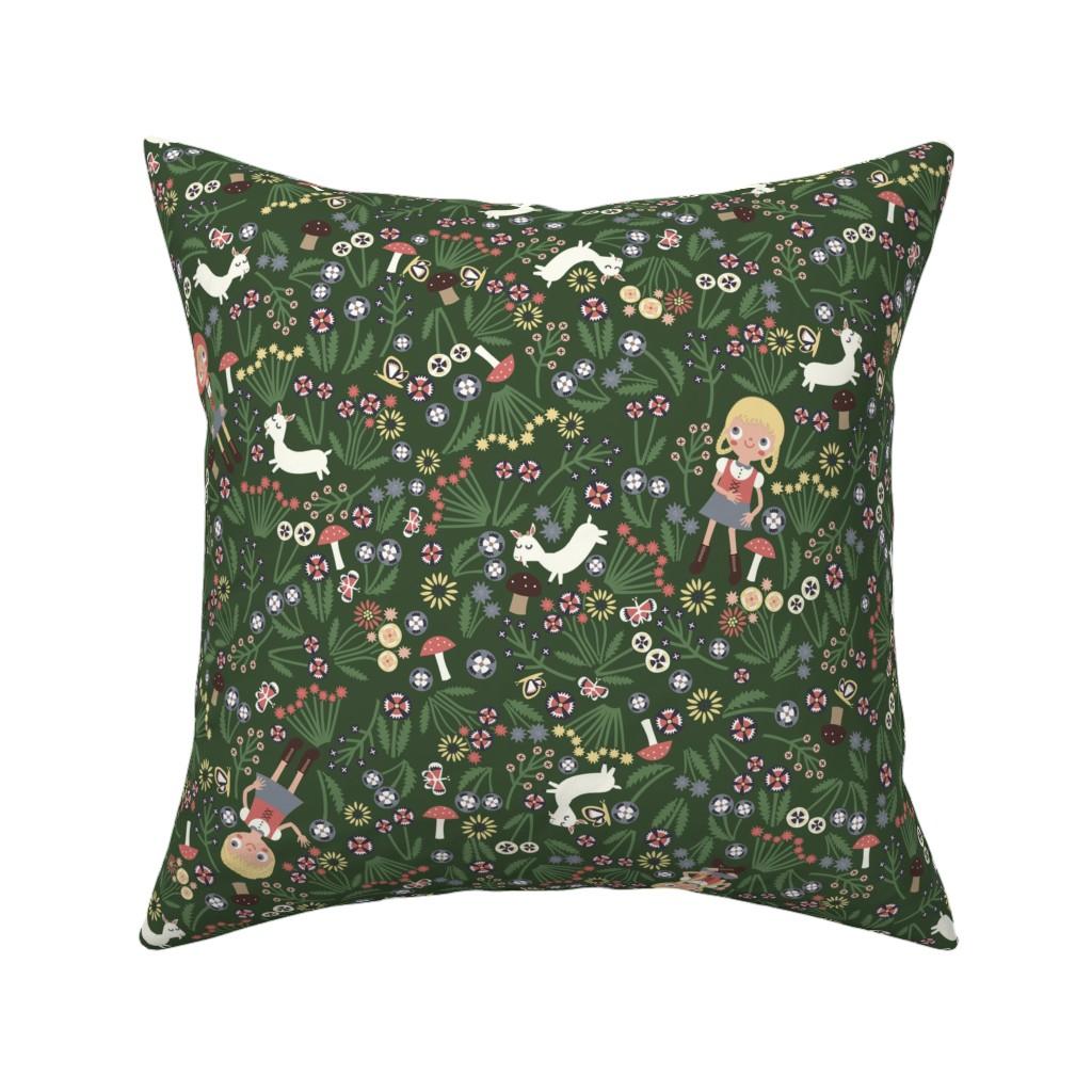 Catalan Throw Pillow featuring Heidi Braids (green) by heidikenney