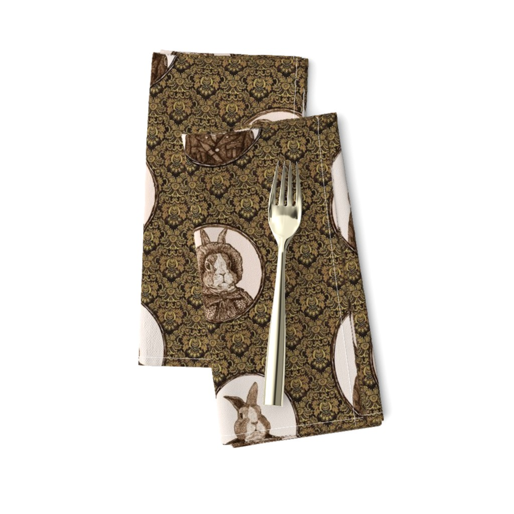 Amarela Dinner Napkins featuring Antique Bunnies by i_will_fly
