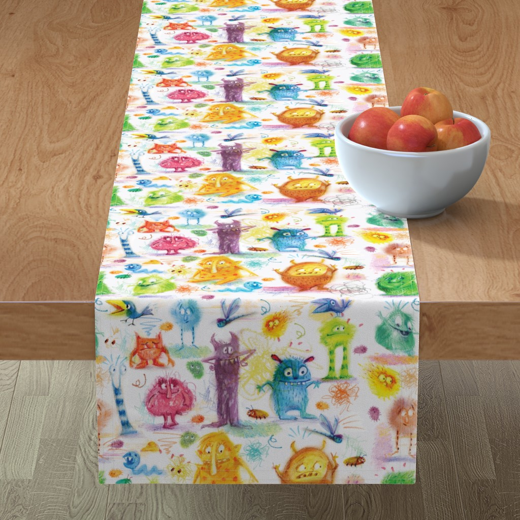 Minorca Table Runner featuring monster_pattern by daniellehanson
