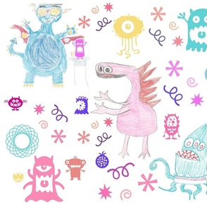 Crayon monsters and friends