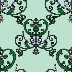 Thistle Heart Damask - 8in (green)