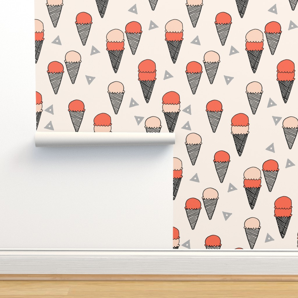 Isobar Durable Wallpaper featuring ice cream // ice cream cone sweet summer tropical sweets fabric by andrea_lauren
