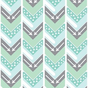 Mint, Grey, White Arrow Chevron - Triangles and Arrows
