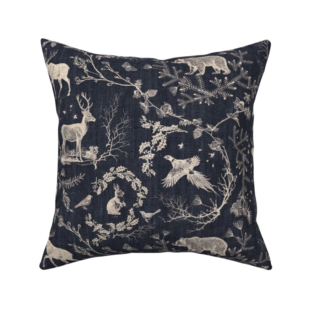Catalan Throw Pillow featuring Woodland Winter Toile (in Coal) by nouveau_bohemian