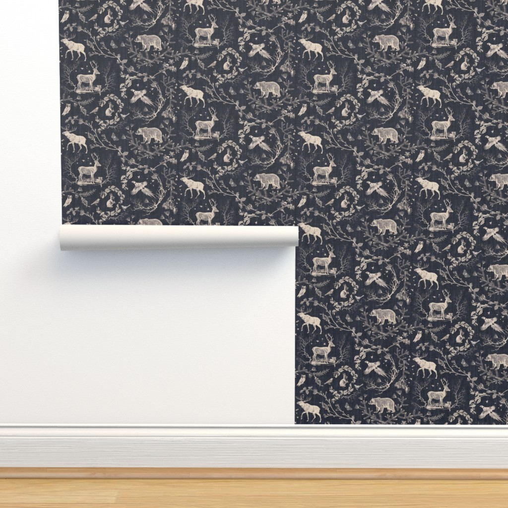 Isobar Durable Wallpaper featuring Woodland Winter Toile (in Coal) by nouveau_bohemian