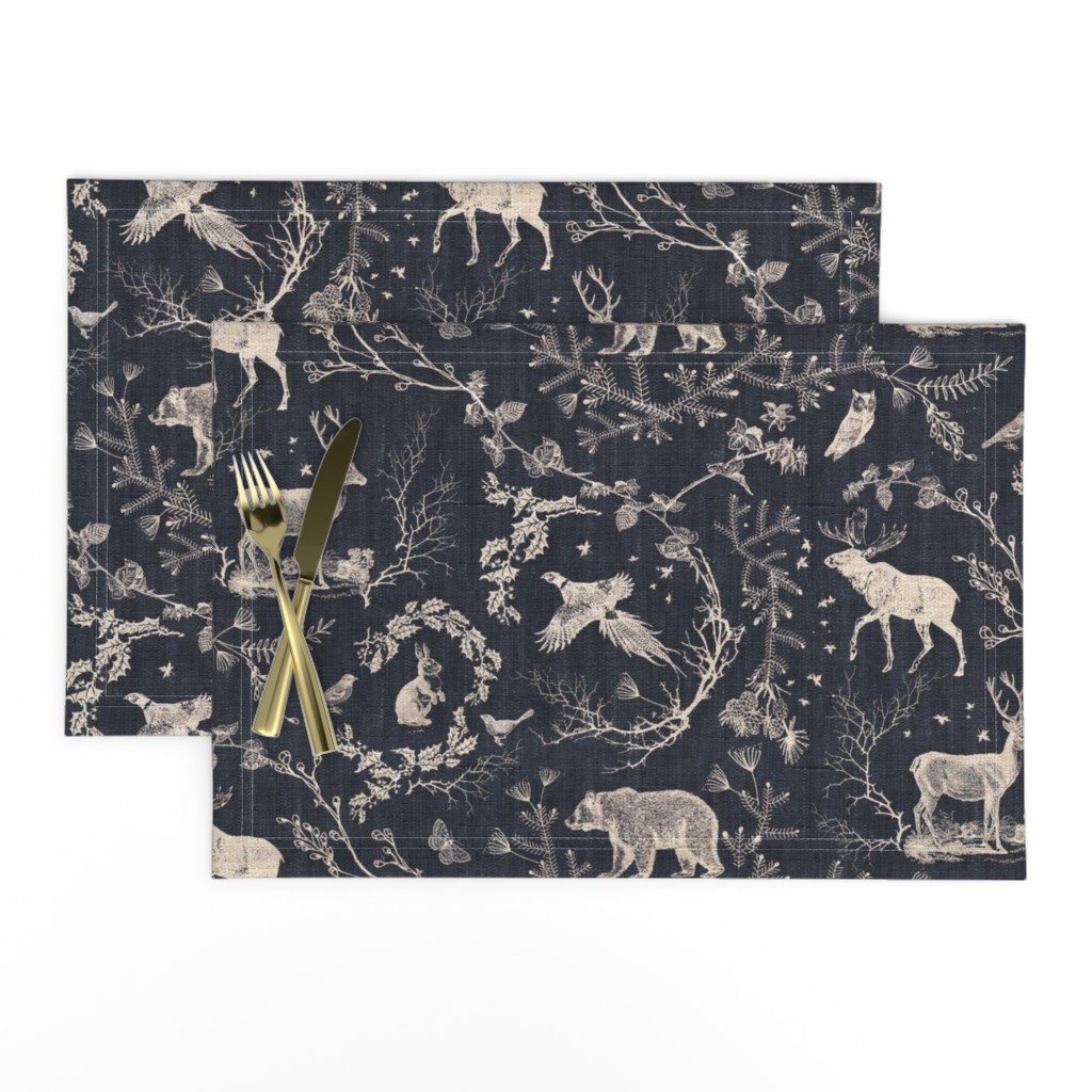 Lamona Cloth Placemats featuring Woodland Winter Toile (in Coal) by nouveau_bohemian