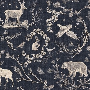 Woodland Winter Toile (in Coal)