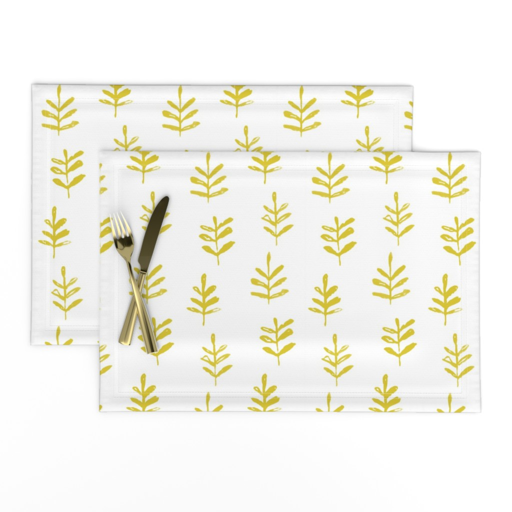 Lamona Cloth Placemats featuring Sprigs Citron White by jillbyers