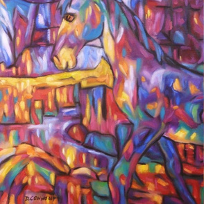 Cubist Rainbow Horse