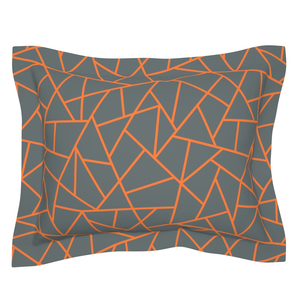 Sebright Pillow Sham featuring Abstract Geometric Tangerine on Shadow  Large by sierra_gallagher