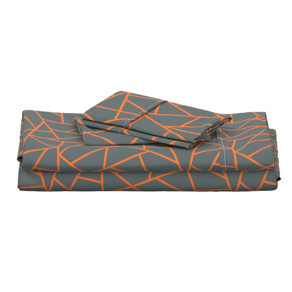 Langshan Full Bed Set featuring Abstract Geometric Tangerine on Shadow  Large by sierra_gallagher