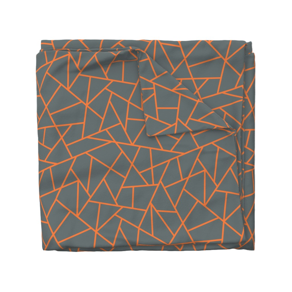 Wyandotte Duvet Cover featuring Abstract Geometric Tangerine on Shadow  Large by sierra_gallagher