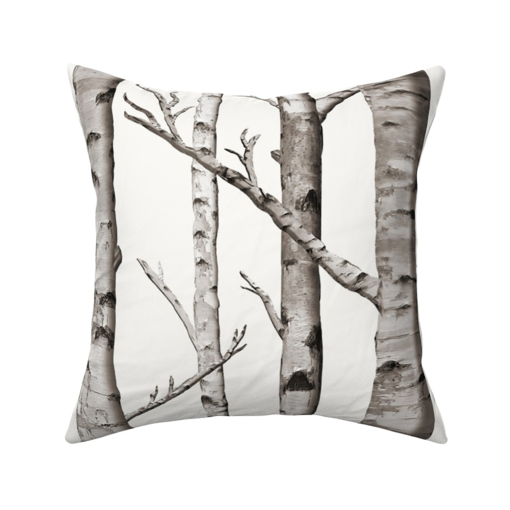 Catalan Throw Pillow featuring Birch Grove Fabric and Wallpaper in Warm Grey and Linen White by willowlanetextiles