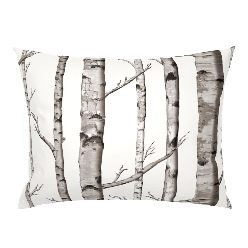 Campine Pillow Sham featuring Birch Grove Fabric and Wallpaper in Warm Grey and Linen White by willowlanetextiles