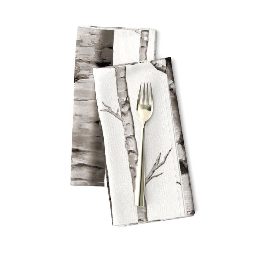 Amarela Dinner Napkins featuring Birch Grove Fabric and Wallpaper in Warm Grey and Linen White by willowlanetextiles