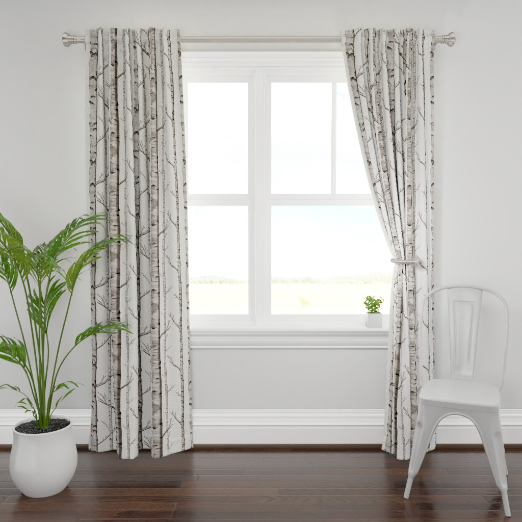 Plymouth Curtain Panel featuring Birch Grove Fabric and Wallpaper in Warm Grey and Linen White by willowlanetextiles