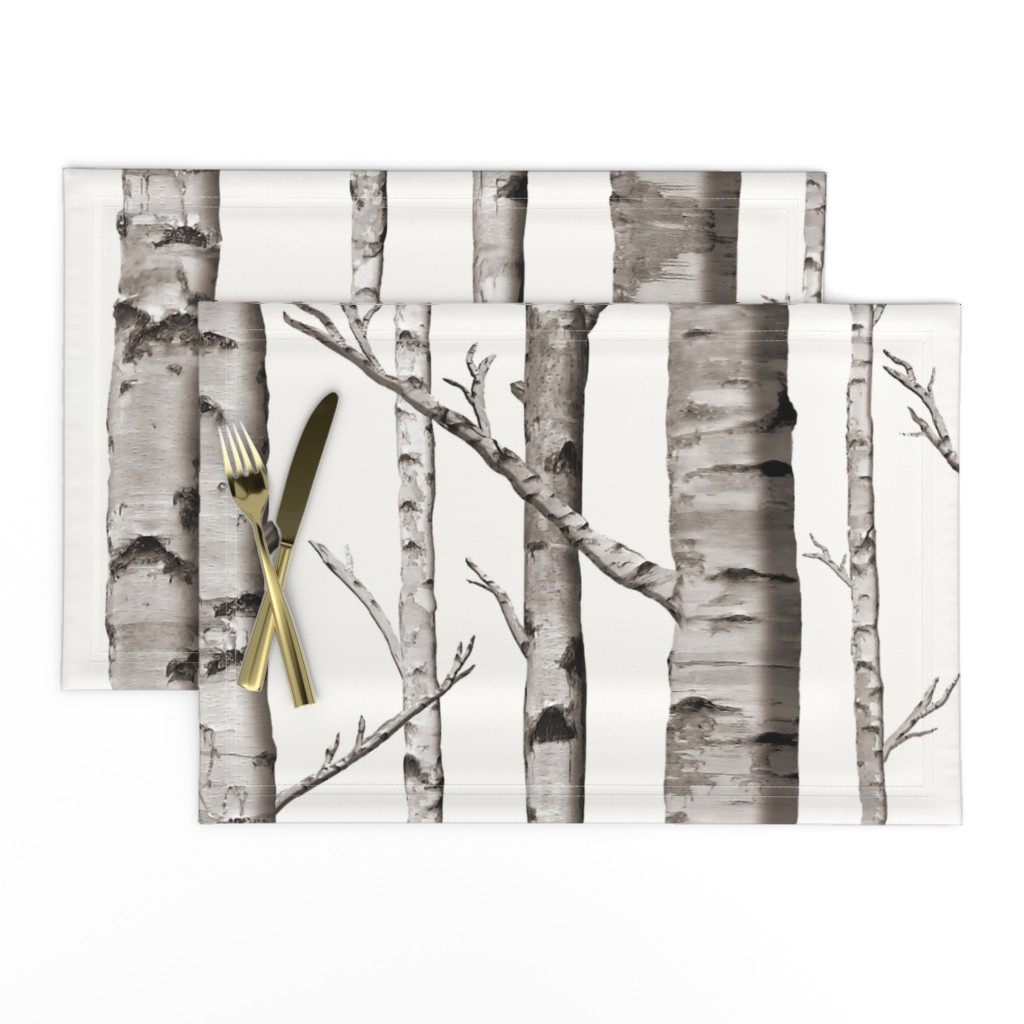 Lamona Cloth Placemats featuring Birch Grove Fabric and Wallpaper in Warm Grey and Linen White by willowlanetextiles