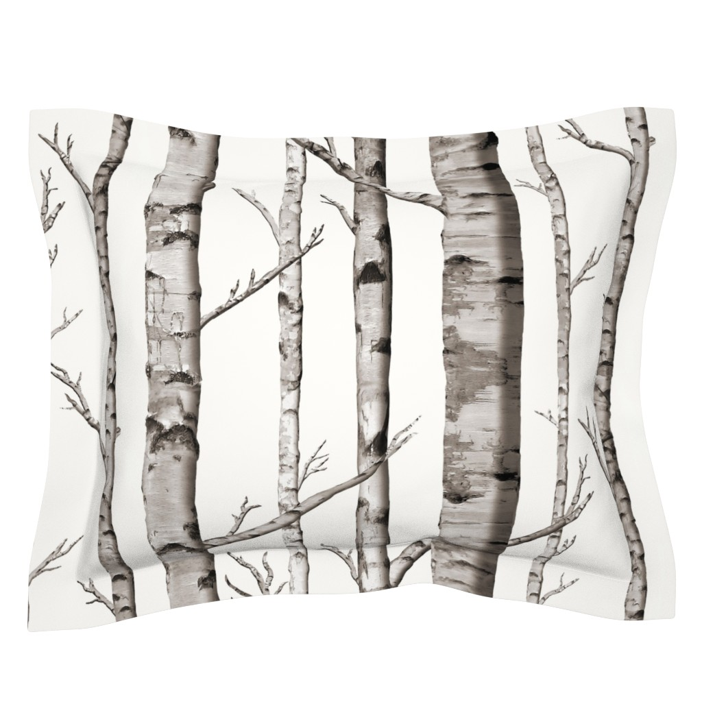 Sebright Pillow Sham featuring Birch Grove Fabric and Wallpaper in Warm Grey and Linen White by willowlanetextiles